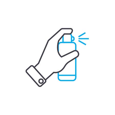 Spray deodorant vector thin line stroke icon. Spray deodorant outline illustration, linear sign, symbol isolated concept. Vetores