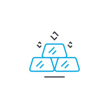 The market of precious metals vector thin line stroke icon. The market of precious metals outline illustration, linear sign, symbol isolated concept. Ilustração