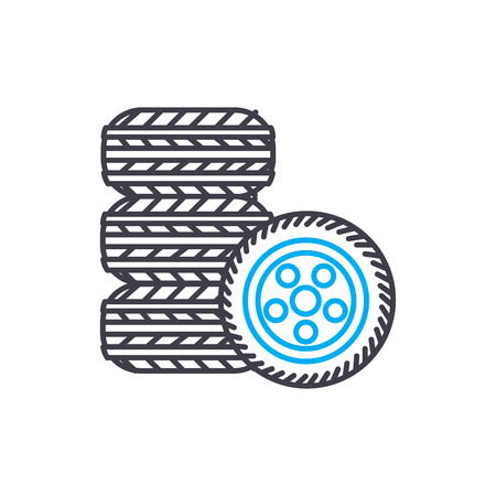 tire fitting vector thin line stroke icon. tire fitting outline illustration, linear sign, symbol isolated concept.