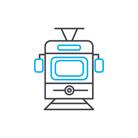Tram vector thin line stroke icon. Tram outline illustration, linear sign, symbol isolated concept.