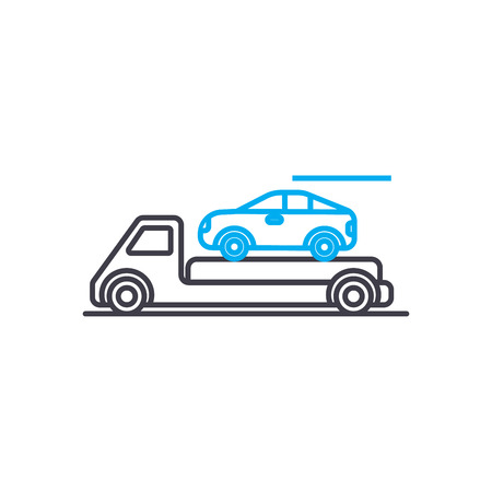 Transportation of cars vector thin line stroke icon. Transportation of cars outline illustration, linear sign, symbol isolated concept. Illustration