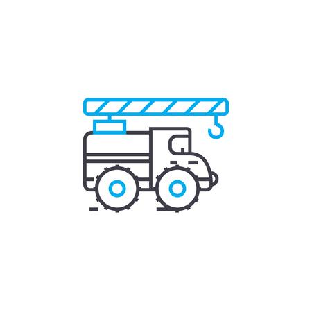 Truck crane vector thin line stroke icon.