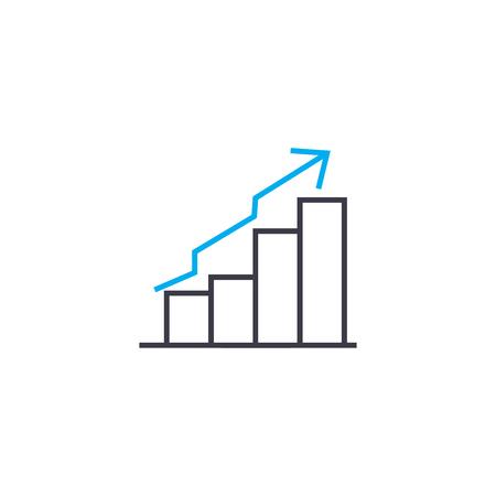 Uptrend chart vector thin line stroke icon.