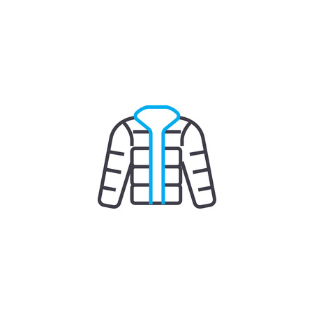 Waterproof jacket vector thin line stroke icon. Waterproof jacket outline illustration, linear sign, symbol isolated concept.