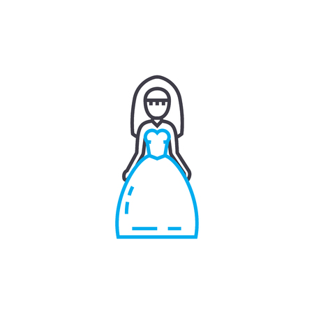 Wedding dress vector thin line stroke icon. Wedding dress outline illustration, linear sign, symbol isolated concept. Иллюстрация