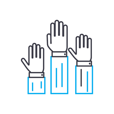 Willingness to participate vector thin line stroke icon. Willingness to participate outline illustration, linear sign, symbol isolated concept.
