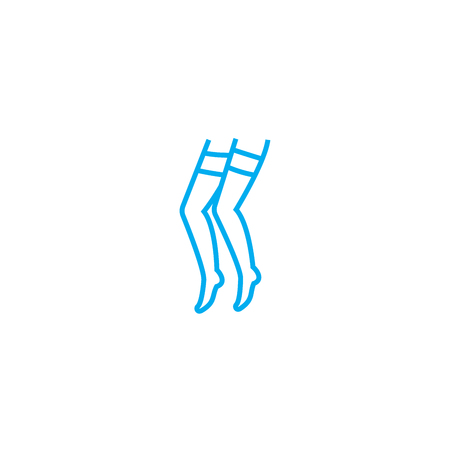 Womens knee socks vector thin line stroke icon. Womens knee socks outline illustration, linear sign, symbol isolated concept. 向量圖像