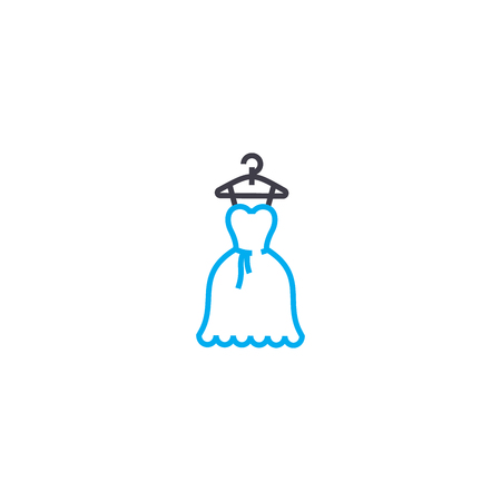 Womens wardrobe vector thin line stroke icon. Womens wardrobe outline illustration, linear sign, symbol isolated concept. Banque d'images - 101255631