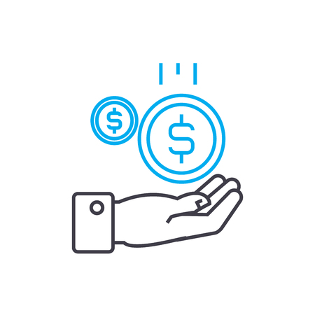 Cash inflow 11 vector thin line stroke icon. Cash inflow 11 outline illustration, linear sign, symbol isolated concept.