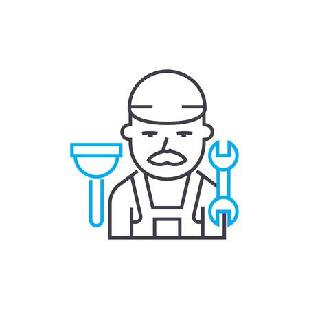 Plumber vector thin line stroke icon. Plumber outline illustration, linear sign, symbol concept. Illustration