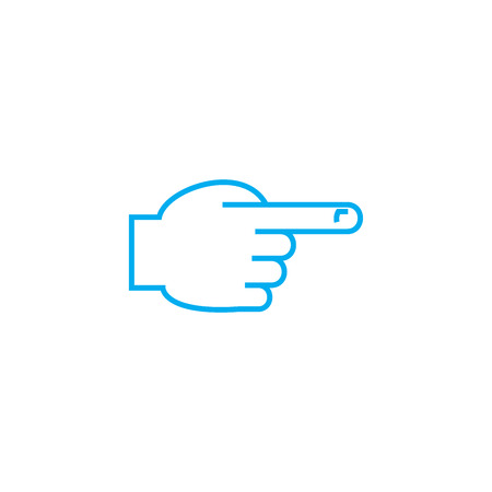 Pointing out the direction vector thin line stroke icon. Pointing out the direction outline illustration, linear sign, symbol concept.