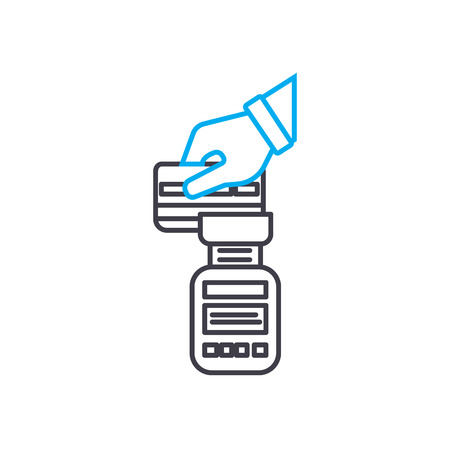 Payphone transaction vector thin line stroke icon. Payphone transaction outline illustration, linear sign, symbol concept.
