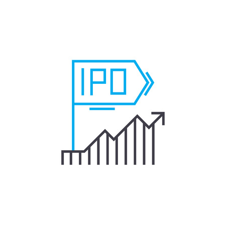 Dynamics within IPO vector thin line stroke icon. Dynamics within IPO outline illustration, linear sign, symbol isolated concept. Illustration