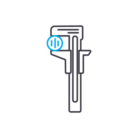 Measuring the items diameter vector thin line stroke icon. Measuring the items diameter outline illustration, linear sign, symbol isolated concept.  イラスト・ベクター素材