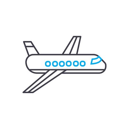 Passenger airplane vector thin line stroke icon. Passenger airplane outline illustration, linear sign, symbol concept. Ilustração