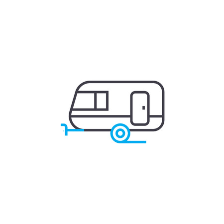 Passenger trailer vector thin line stroke icon. Passenger trailer outline illustration, linear sign, symbol concept.