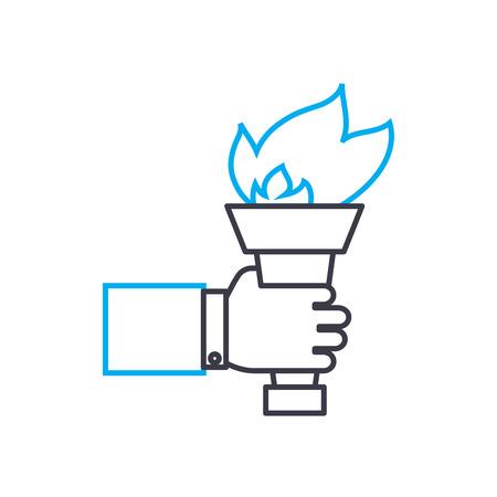 Passing the baton vector thin line stroke icon. Passing the baton outline illustration, linear sign, symbol concept.