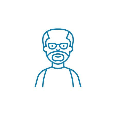 Aged man line icon, vector illustration. Aged man linear concept sign. Illustration
