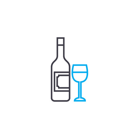 Alcoholic beverages line icon, vector illustration. Alcoholic beverages linear concept sign. 版權商用圖片 - 101937677