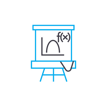 Algebra lesson line icon, vector illustration. Algebra lesson linear concept sign. Illustration