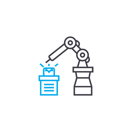 Automated welding line icon, vector illustration. Automated welding linear concept sign. Illustration