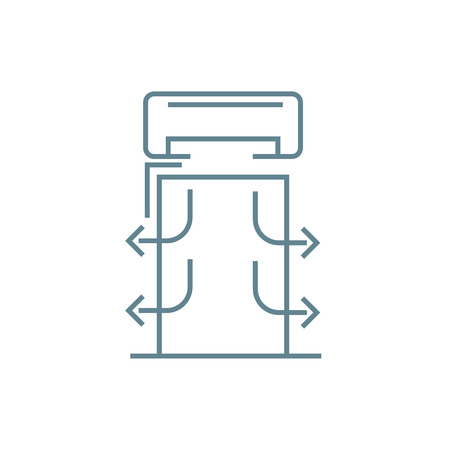 Air conditioning system line icon, vector illustration. Air conditioning system linear concept sign.