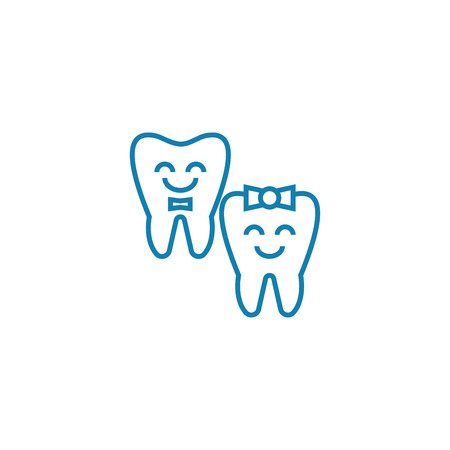 Baby teeth line icon, vector illustration. Baby teeth linear concept sign.