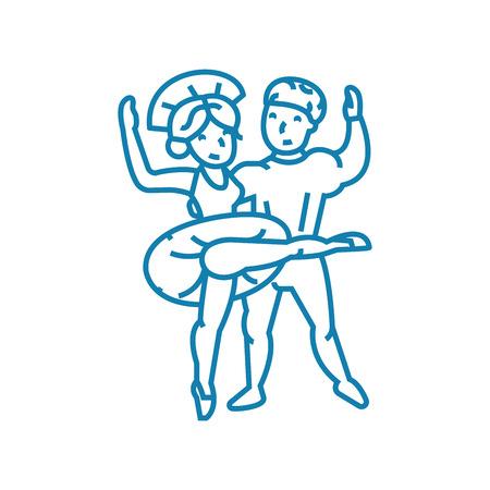 Ballet dances line icon, vector illustration. Ballet dances linear concept sign. Stock Illustratie