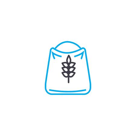 Bag of flour line icon, vector illustration. Bag of flour linear concept sign.