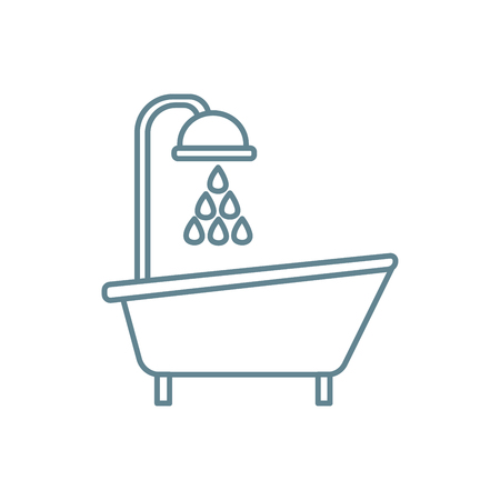 Bath with shower line icon, vector illustration. Bath with shower linear concept sign.