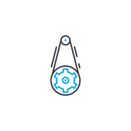 Belt gear line icon, vector illustration. Belt gear linear concept sign.