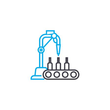 Beverage production line icon, vector illustration. Beverage production linear concept sign.