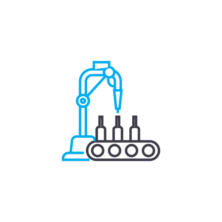 Beverage production line icon, vector illustration. Beverage production linear concept sign.