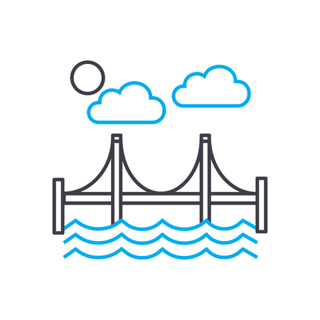 Automotive bridge line icon, vector illustration. Automotive bridge linear concept sign.