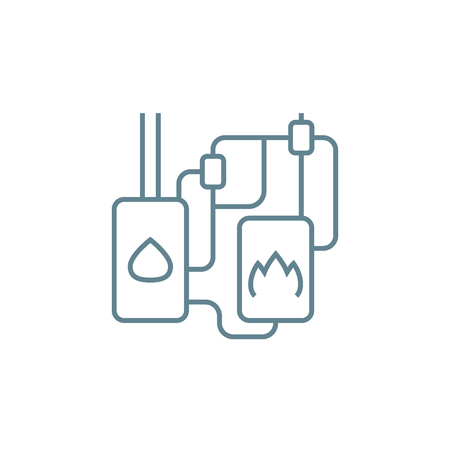 Autonomous heating system line icon, vector illustration. Autonomous heating system linear concept sign.  イラスト・ベクター素材