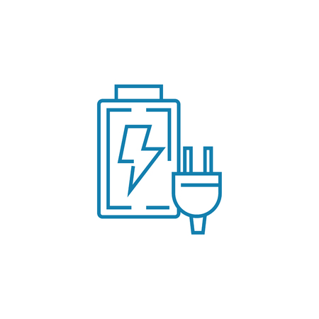 Accumulator charging line icon, vector illustration. Accumulator charging linear concept sign.
