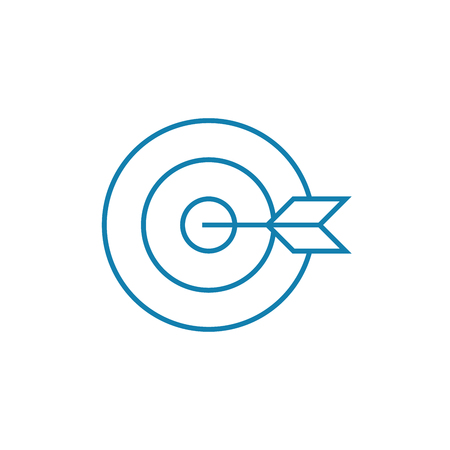 Achieving the goal line icon, vector illustration. Achieving the goal linear concept sign.