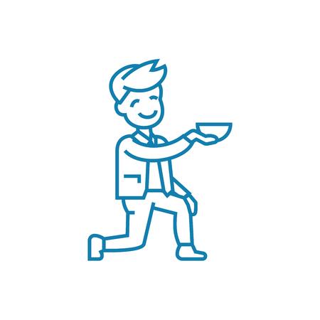 Beggar line icon, vector illustration. Beggar linear concept sign.