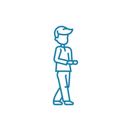Begging line icon, vector illustration. Begging linear concept sign. Illustration