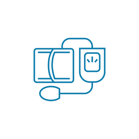 Blood pressure monitoring line icon, vector illustration. Blood pressure monitoring linear concept sign.