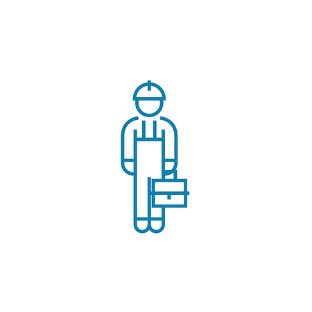 Blue collar line icon, vector illustration. Blue collar linear concept sign.  イラスト・ベクター素材