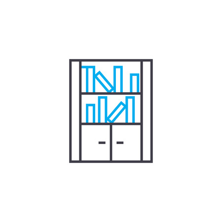Bookcase line icon, vector illustration. Bookcase linear concept sign.