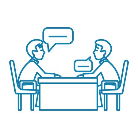 Business conversation line icon, vector illustration. Business conversation linear concept sign. Illustration