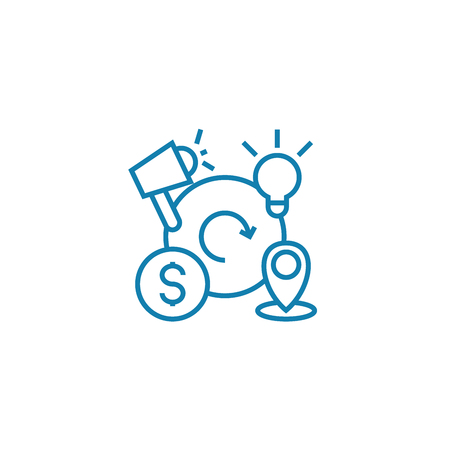 Business cycles line icon, vector illustration. Business cycles linear concept sign. Çizim