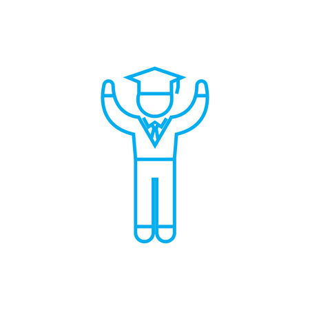 Boy student line icon, vector illustration. Boy student linear concept sign.