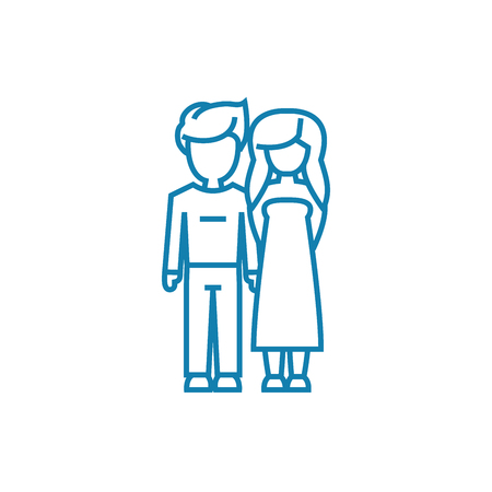 Boyfriend & girlfriend line icon, vector illustration. Boyfriend & girlfriend linear concept sign.