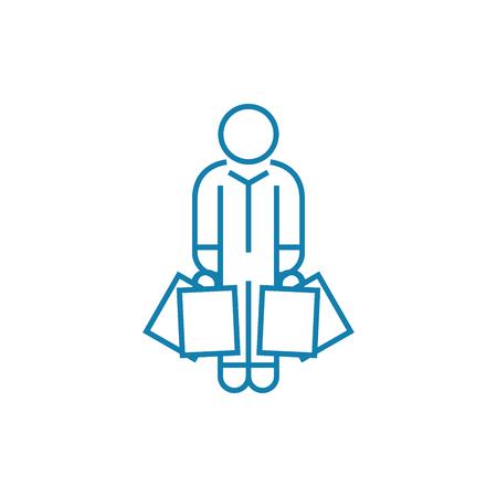 Kauf Wäscheleine Symbol, Vektor-Illustration. Kauf Kleidung lineares Konzeptzeichen.