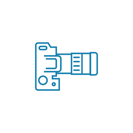 Camera settings line icon, vector illustration. Camera settings linear concept sign.