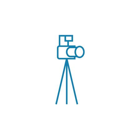 Camera with tripod line icon, vector illustration. Camera with tripod linear concept sign.