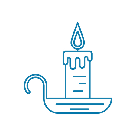 Candle with candlestick line icon, vector illustration. Candle with candlestick linear concept sign.